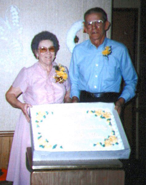 Grandpa Ollie and Maxine Sapp, 50th wedding anniversary party.